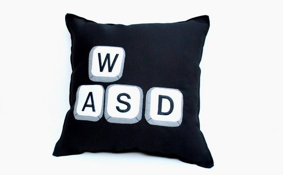 Computer Gaming Keys on Keyboard Pillow- WASD
