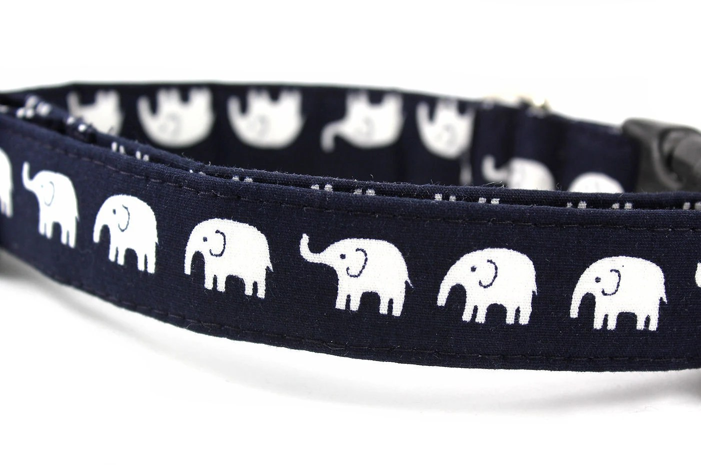 Dog Collar....Elephants on Parade in Navy.......Made to Order in Your Choice of Size