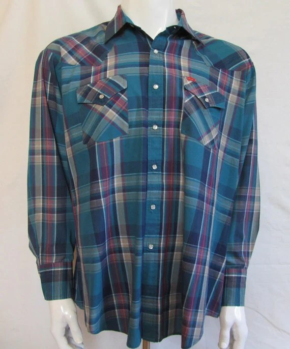 Mens XL western shirt, Ely Plains, vintage, teal and magenta plaid, pearl snaps