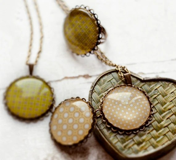 Vintage polka dot patterns set - Ring and necklace - Autumn jewelry - Light green, pistachio and  apricot, beige - Free worldwide shipping
