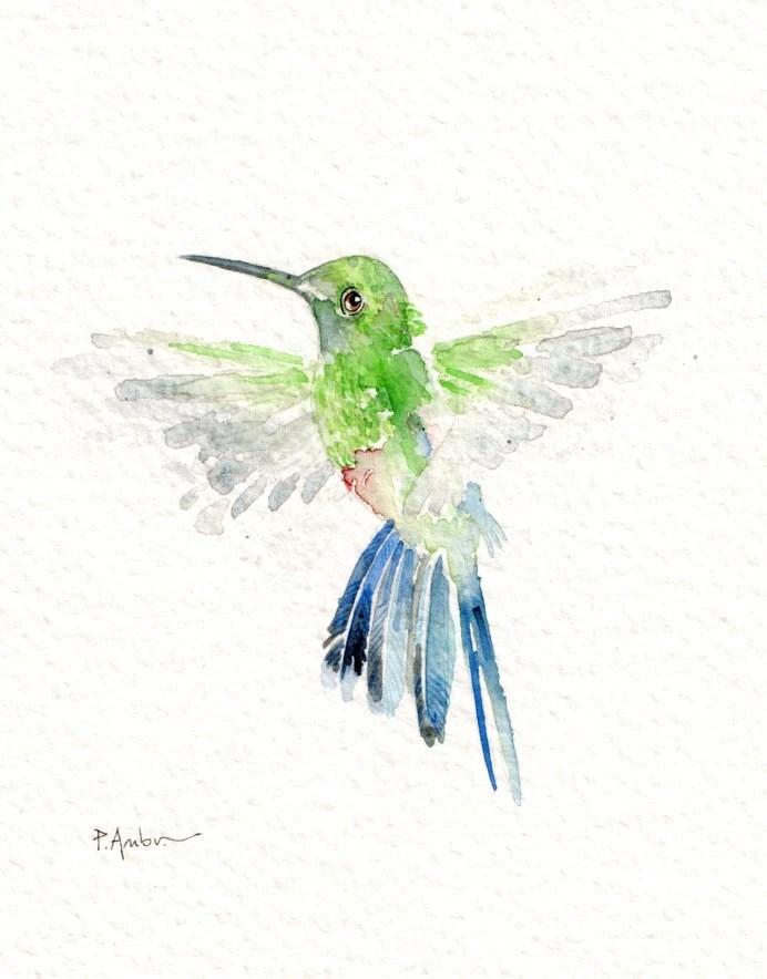 SALE -- Original 7x9 Watercolour Hummingbird . NOT A PRINT ..Original Painting red