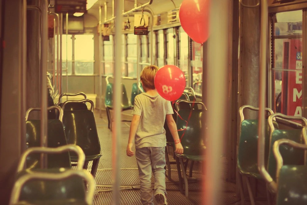 "Little boy playing in the italian tram - 8""x12""  fine art"