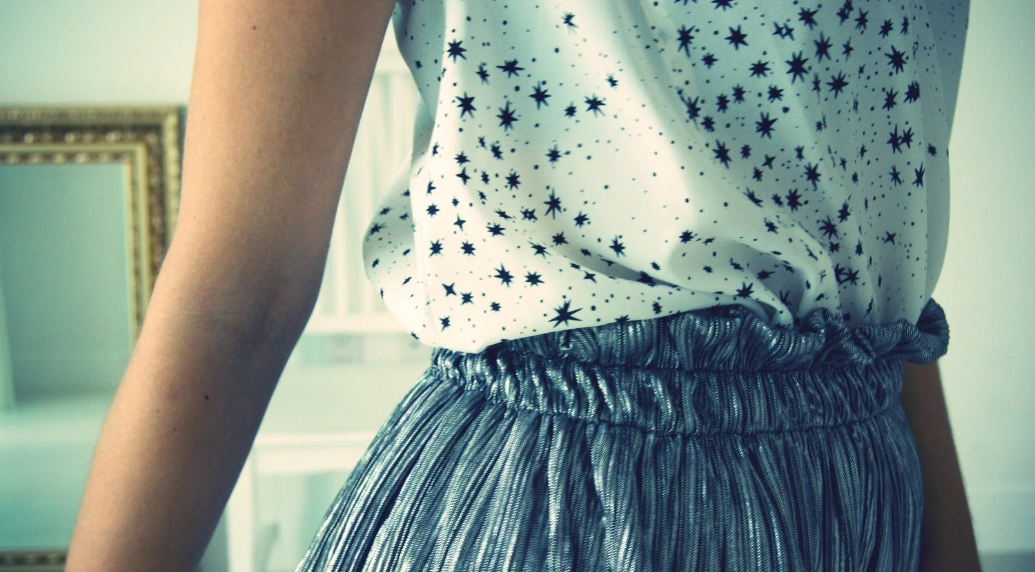 Silver Pleated Mini Skirt