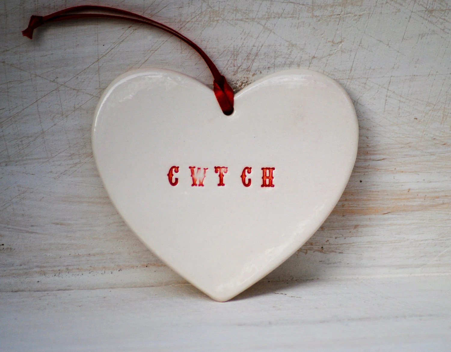 Cwtch Heart Ornament  in Romantic warm Red Welsh for Hug Or Cuddle