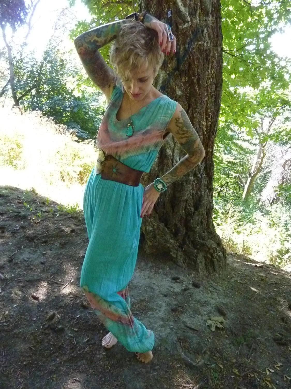 70s Boho Burner Tie Dye Gauzy Harem Jumpsuit, medium