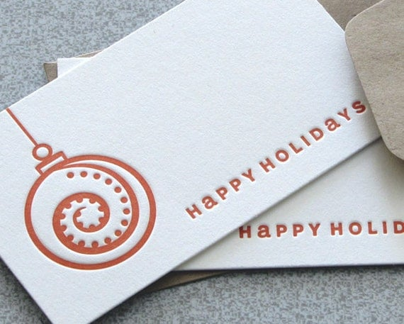 Letterpress Mini Card Set, Place Card, Happy Holiday Hanging Ornament Red Rust Orange, Set of 8 (MCO1)