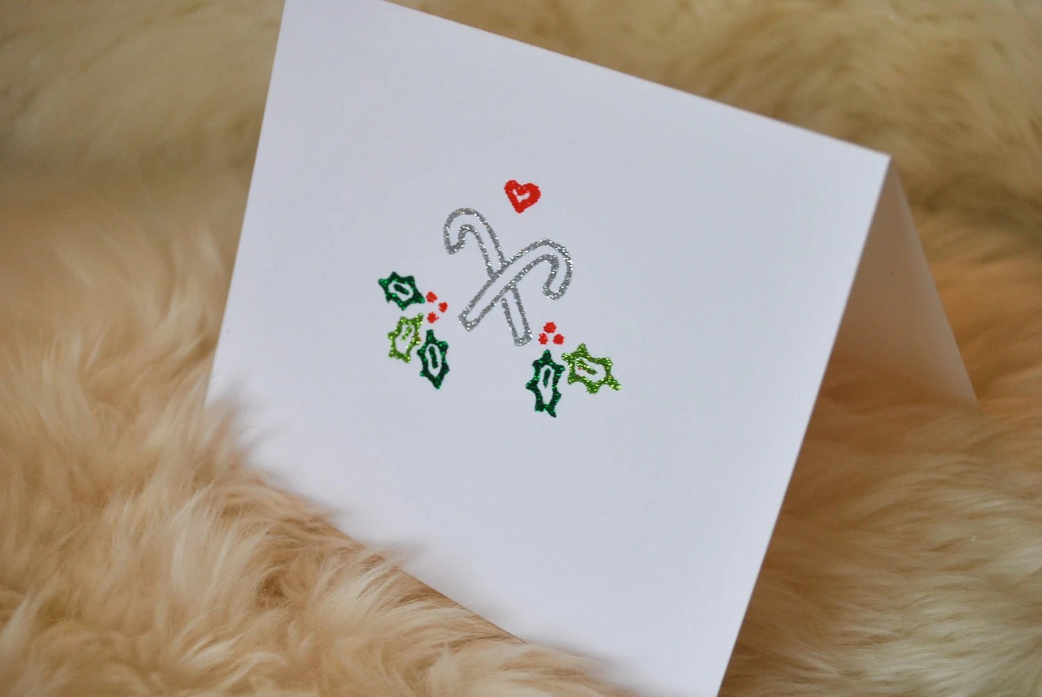 Set of 4 Christmas Candy Cane Notecards (can be personalized)
