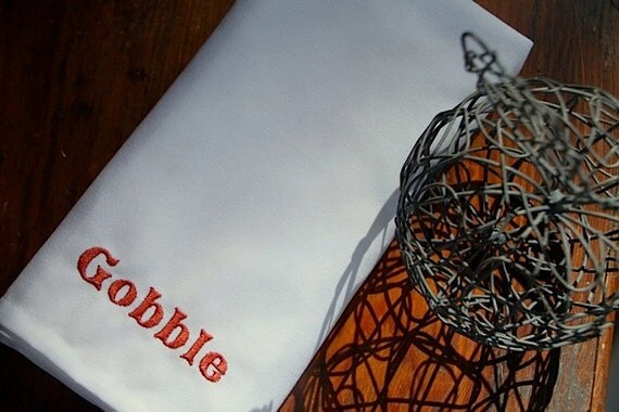 """Set of 4 Thanksgiving """"Gobble"""" Embroidered Cloth Napkins 20"""" Matte Poly (Ivory or White)"""