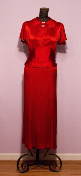 1930's Fall Rust Crinkle Silk Gown With Rhinestone Details