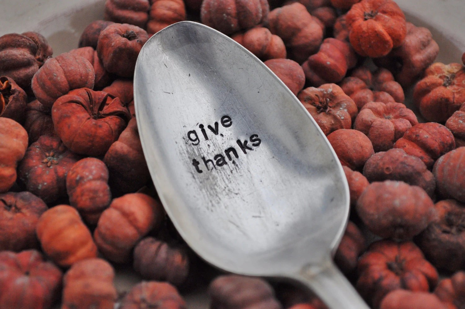 GIVE THANKS- Large Hand Stamped Vintage Serving Spoon for your Thanksgiving Table