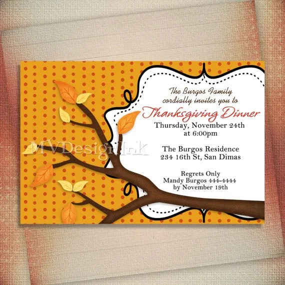 Simple Branch Thanksgiving Dinner Card or Invitation-Digital File You Print