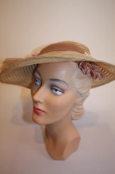 Your Sunday Best - Early 1930s Straw/Horsehair Brimmed Hat w/Pink Velvet Flowers & Pearl Pin
