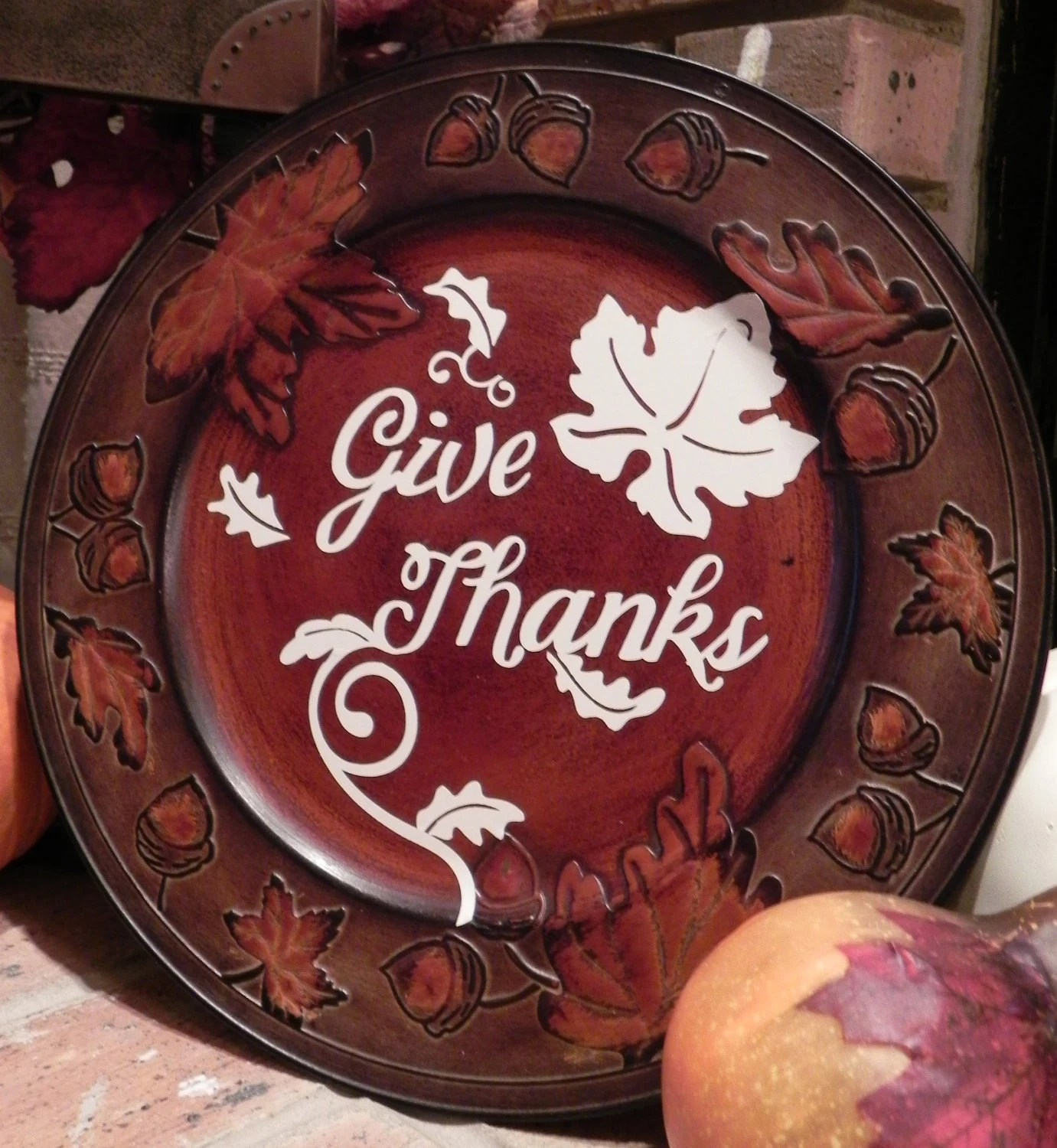 Give Thanks Charger Plate Thanksgiving Decoration