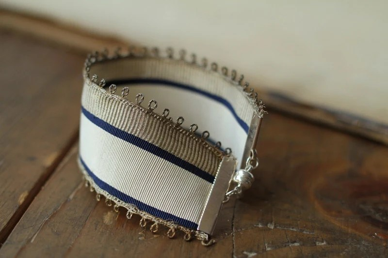 RESERVED FOR AUBREY Antique French Military Ribbon Bracelet in Silver, Cream and Navy