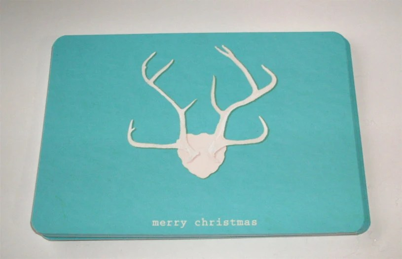 Teal Blue Christmas Cards Reindeer, Deer Antlers Minimalist Holiday Card Set