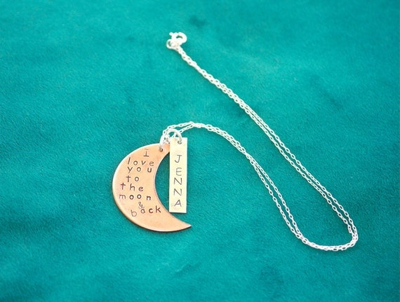 "Handstamped ""I love you to the moon"" Necklace  (Turn Around Time is ONE WEEK)"