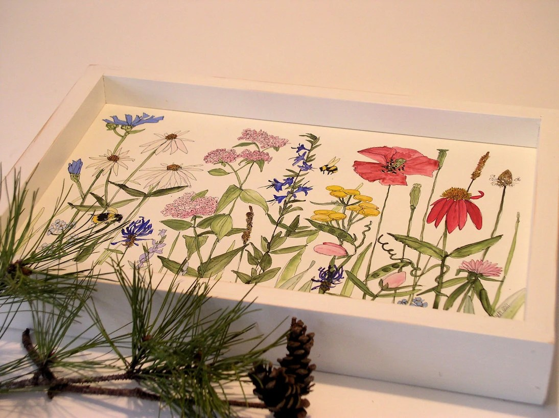 Painted Furniture Farmhouse Wood Tray with Wildflowers on White Background