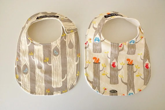 Baby Bibs, Set of 2, Organic, Circa 52 Woodland Friends and Cotton Fleece