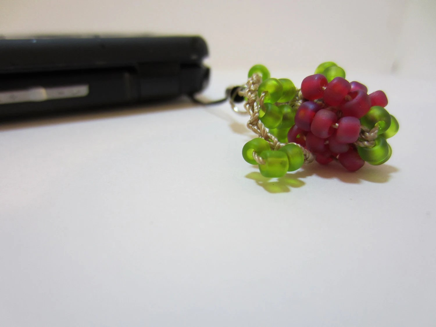 Berry Cheery Beaded Crochet Cell Phone Charm