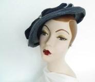 1930s tilt picture hat, 30s vintage navy brimmed tilt