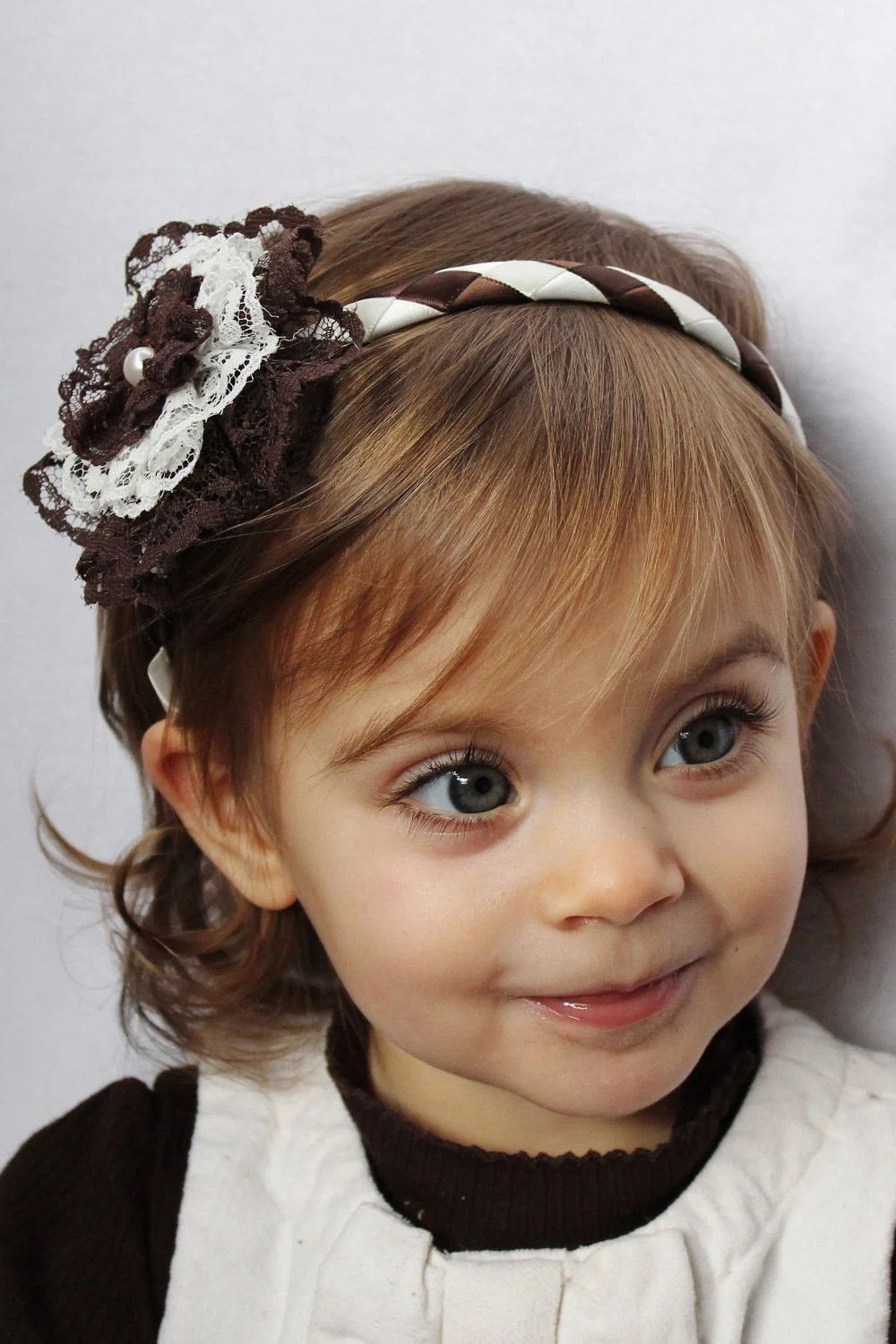 Lace Flower Headband - Lace Hair Bow with Ribbon Woven Headband Brown Ivory Vintage Style