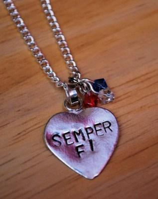 """Handstamped """"Semper Fi"""" Necklace"""