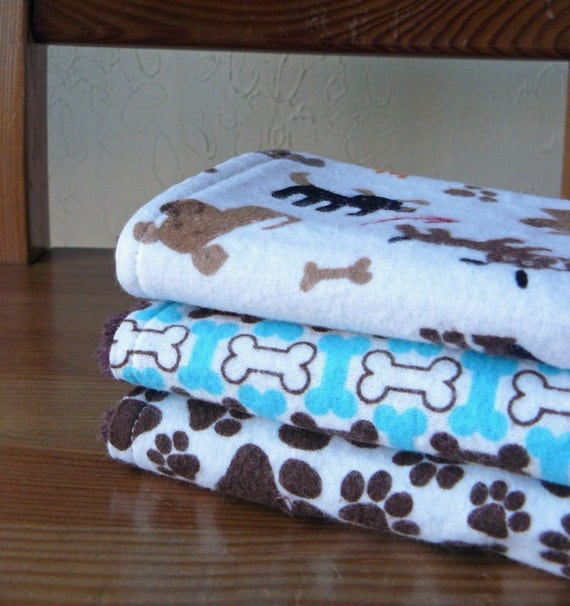 Burp Cloth Set for Baby Boy - Puppy Dogs & Pawprints