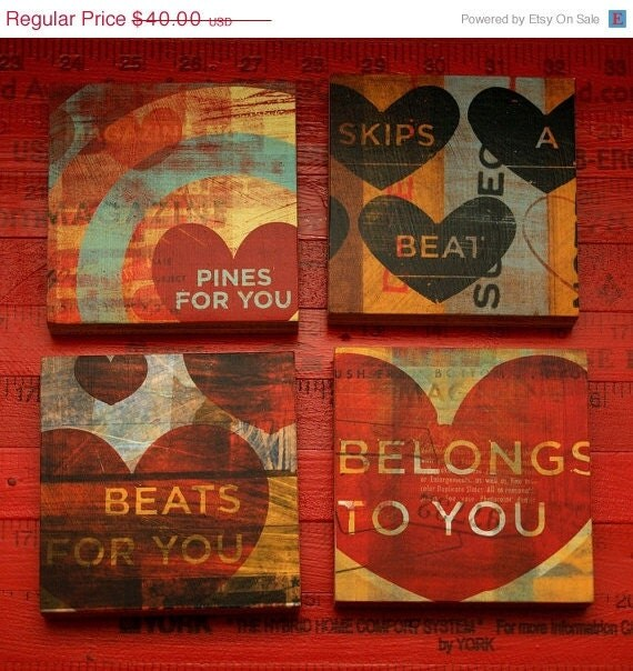 Four art blocks from the My Heart Series