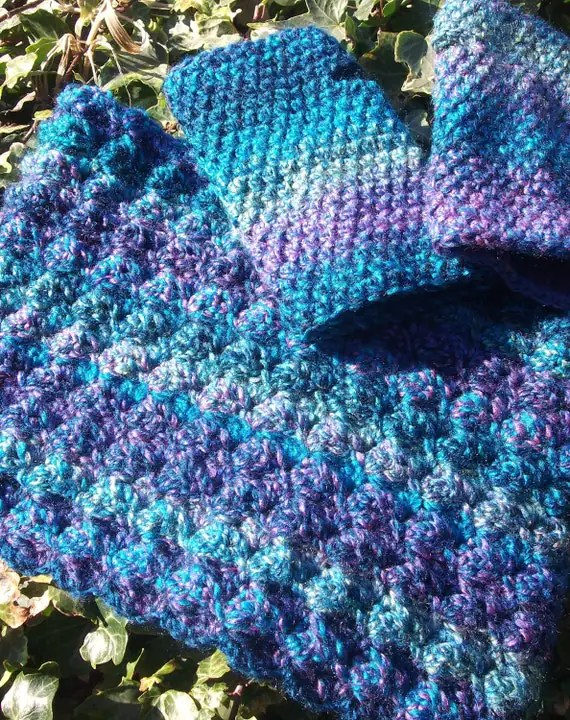 Cowl & Gloves Set: blue, purple, green, indigo marble cowl and fingerless gloves