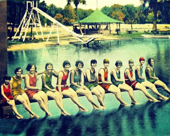 vintage Florida beach decor art photo WATER NYMPHS 11x14 summer swim girls print 1920s - VintageBeach