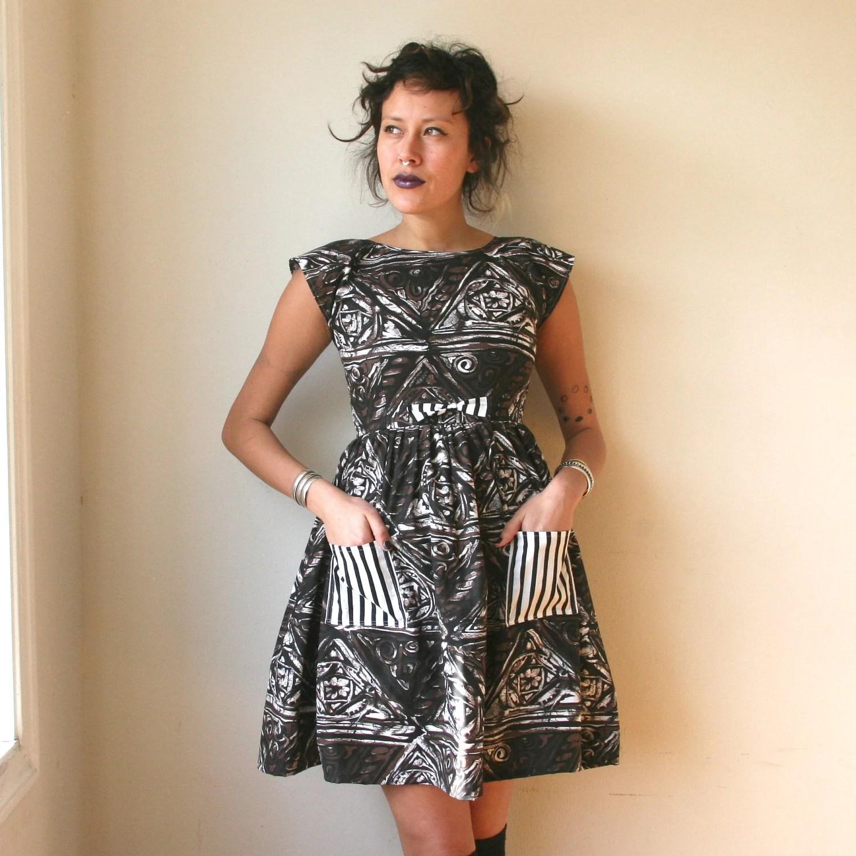 Rusty Cuts Brown and Black Batik Mini Dress with Pockets Sz XS / S