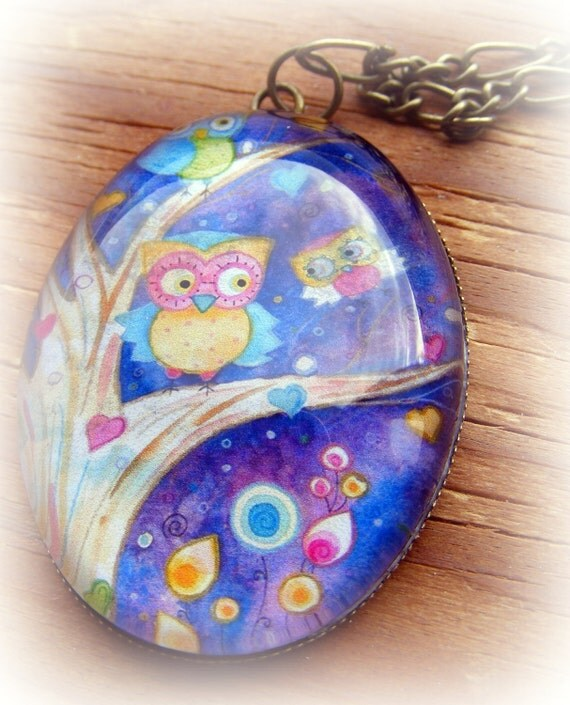 Necklace  Antique Bronze Night Owl
