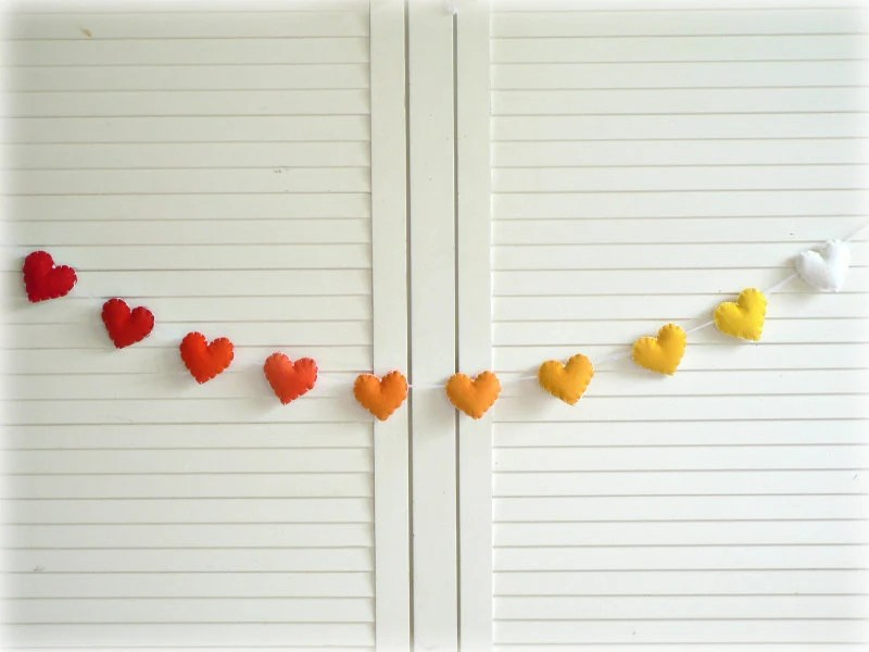 Summer Sunset heart banner/ garland/ bunting - Felt hearts in red, orange, yellow and white - wedding decor