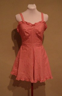 Vintage Late 40s Early 50s Red Gingham Playsuit with Ruffles