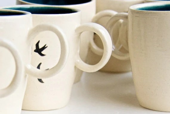 Ceramic Mug- Birds in Teal