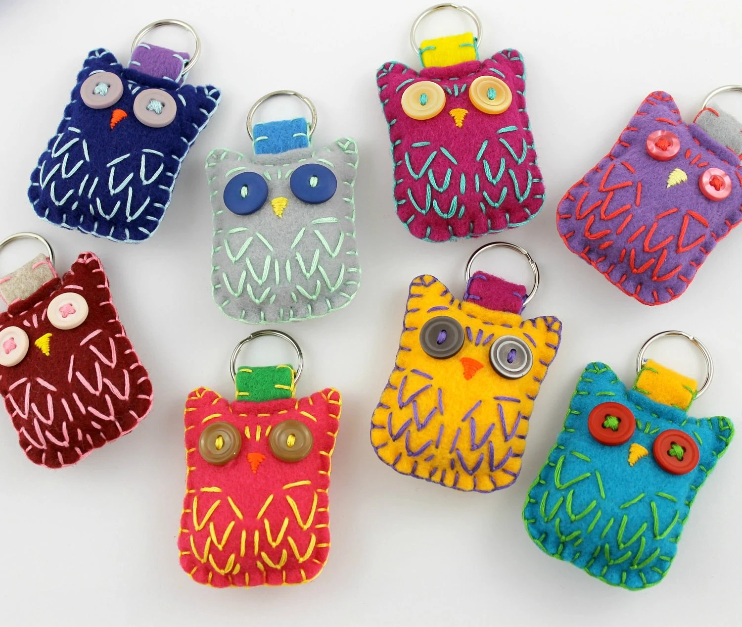 Wholesale Lot of 8 Eco Felt Owl Keychains Embroidery Cute Felt Party Favors