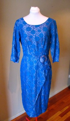 Vintage Late 1950s Sheath Dress - Electric Blue Lace and Satin - L