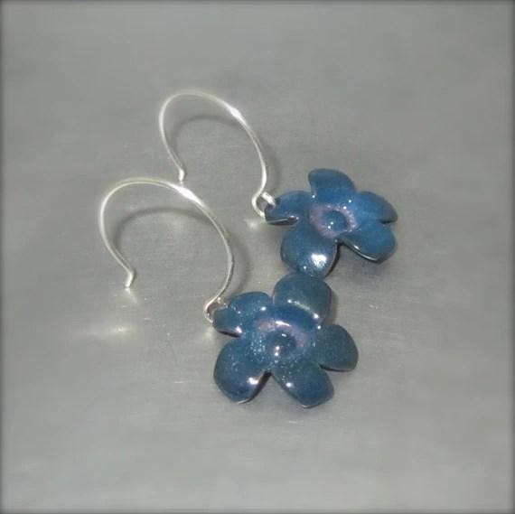 Enameled Blue and Purple Flower Earrings - By Beth Millner