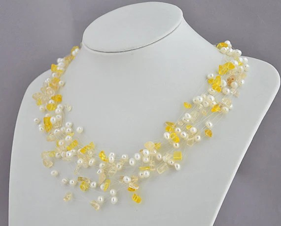 Chunky Yellow Necklace, Yellow Bridal Necklace - 20 Strands 20 Inches White  Pearl and Yellow Macadam Bridal Necklace(FN0299) - EnyaPearls