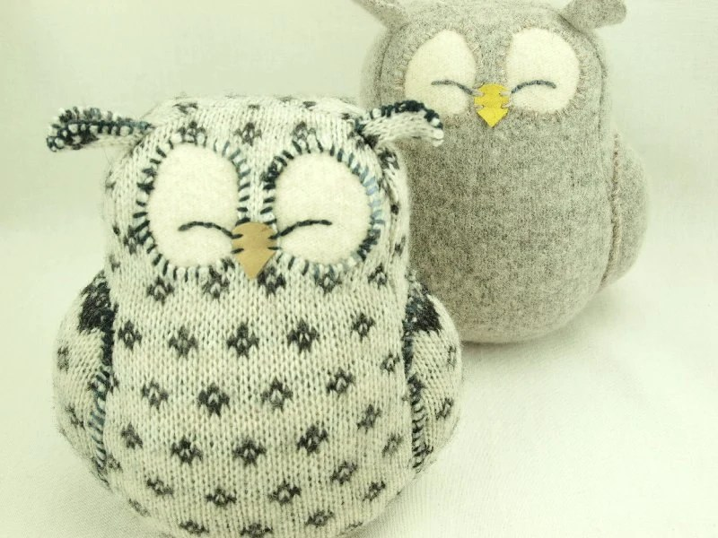 White and Dark Grey Sleepy Owl  Patterned  Felted Wool Lamb Wool Stuffing Home Decor Nursery Eco Friendly Upcycled Height 7""