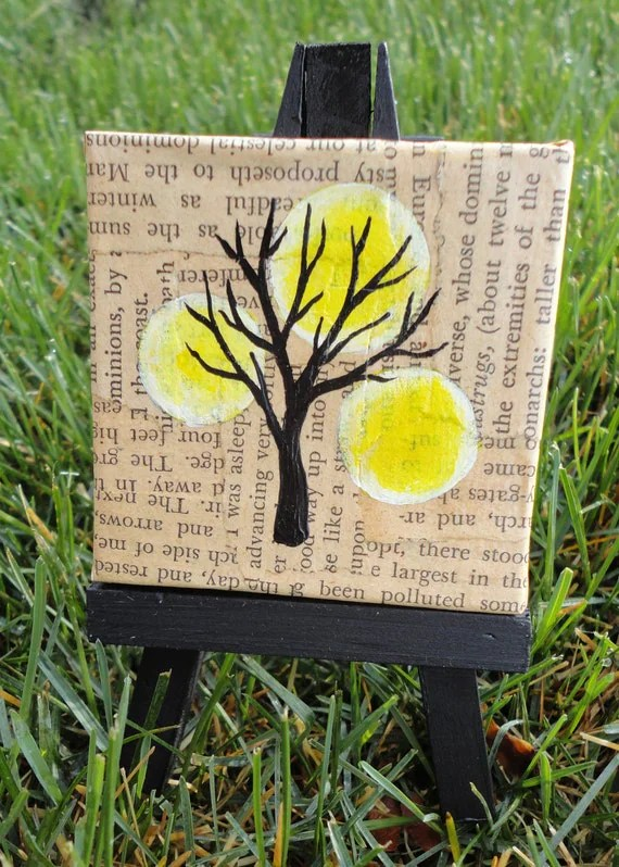 Mini painting and easel-Collage and acrylic tree with suns on canvas
