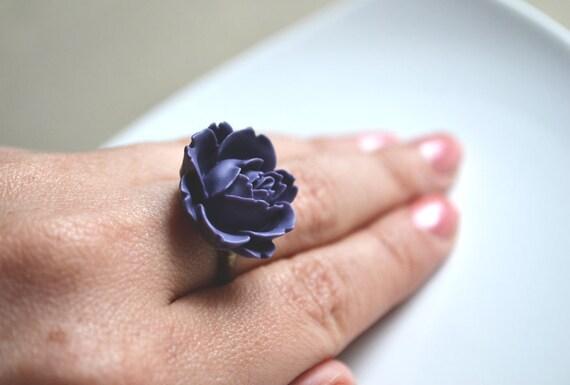 On SALE . Purple Rose Ring. Deep Royal Purple Blooming Ring. Adjustable - LAST ONE