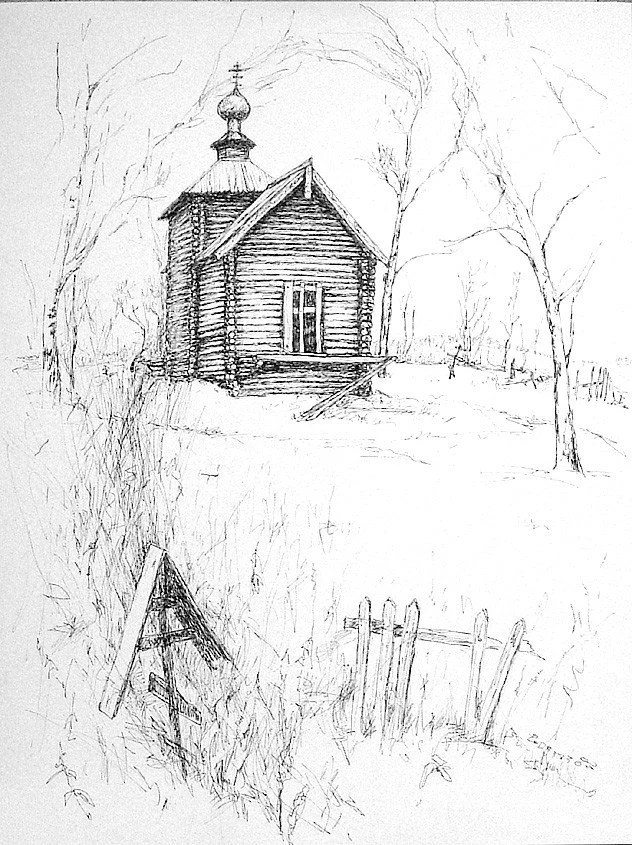 Wooden Russian Church ORIGINAL pen drawing A3 12 x17 inches
