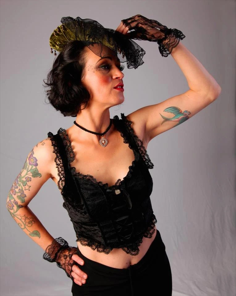 black corset style camisole with antique watch dial and free choker