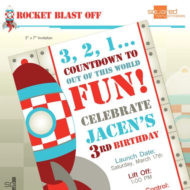 lesenfantscouk – Rocket Ship Birthday Invitations
