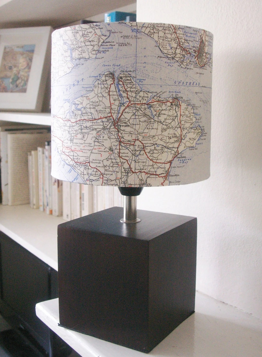 Vintage Johnston's 1930's Map Lamp featuring The Isle of Wight and The Solent - 5ftinf