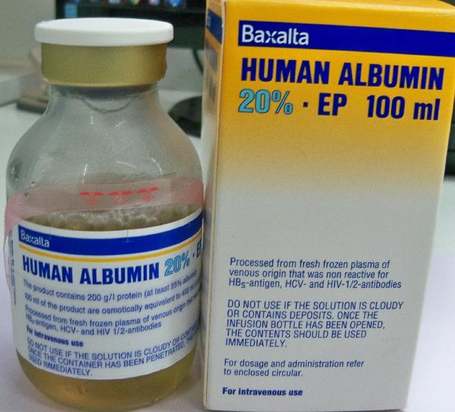 Pharmaceutical injectables-Human Albumin 20% EP 100 ml ...