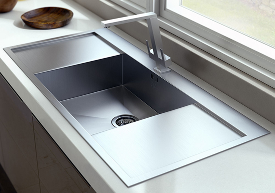 single bowl with double drain board kitchen sink