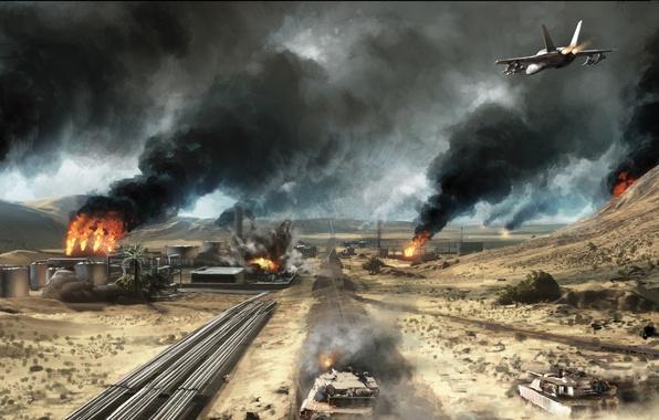 Battlefield 3 Iphone Wallpaper Wallpaper The Plane Fire War Plant Desert Battlefield