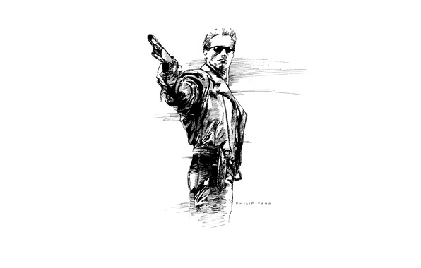 Wallpaper weapons, glasses, shotgun, Terminator 2